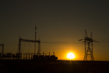 Power towers in the late afternoon