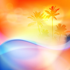 Water wave and island with palm trees in sunset time. Orange summer background. EPS10 vector.
