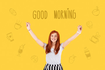 Good morning. Positive enthusiastic student greeting a new day and putting her hands up while having a pleasant morning