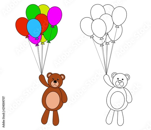 Teddy Bear with Colorful Balloons Coloring Page for Children ...