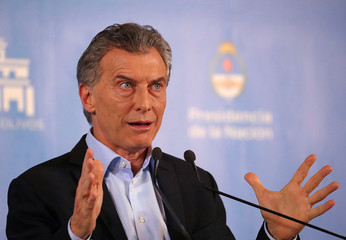 Argentina's President Macri speaks during a news conference at the Olivos Presidential Residence in Buenos Aires
