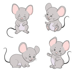 Set of cute little cartoon mice. Vector mouse collection.