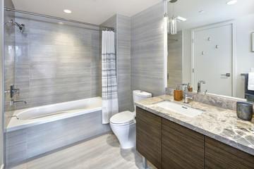 Modern stylish condo bathroom design with gray tiling
