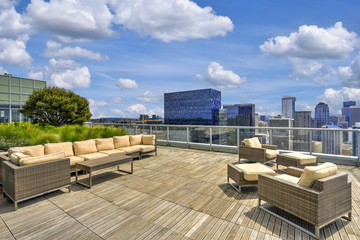 Beautiful view of Sky lounge on the roof of Apartment building.