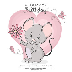 Cute cartoon mouse with a flower. Vector illustration for kids. Happy Birthday card.