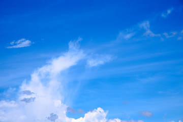 Fluffy white clouds on blue sky.