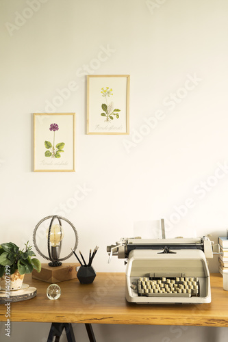 The Stylish Home Office With Vintage Typewriter, Poster Illustrations Of  Plants, Table Lamp,