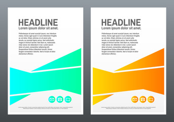 Brochure design template. Bright shapes on white background. Creative design for flyer, banner, poster in a4. Trendy vector illustration