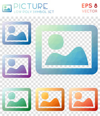 Picture geometric polygonal icons. Beauteous mosaic style symbol collection. Unique low poly style. Modern design. Picture icons set for infographics or presentation.
