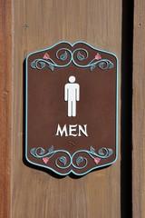 Men sign in front of the door