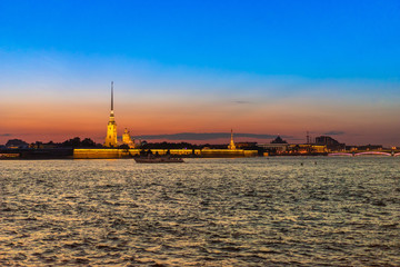 Dawn in St. Petersburg. Peter-Pavel's Fortress. Russia.
