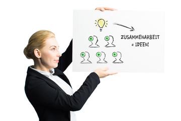 junge Geschäftsfrau präsentiert Konzept zur Ideenfindung