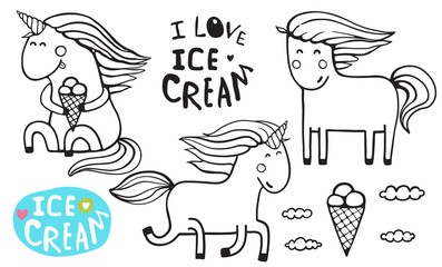 Little blue magic horse reading, fun childish illustration. Vector cartoon.