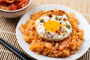 Kimchi fried rice with fried egg on top, Korean food