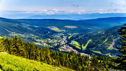 The alpine village of Sun Peaks viewed from Tod Mountain in the Shuswap Highlands of British Columbia, Canada Wall mural