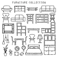 家具 インテリア アイコン 手描き