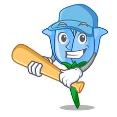 Playing baseball bell flower character cartoon