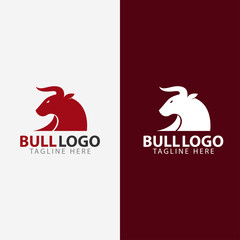 bull head horn logo template