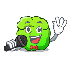 Singing shrub mascot cartoon style