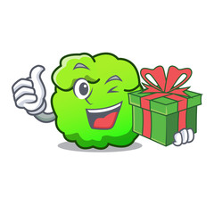 With gift shrub mascot cartoon style