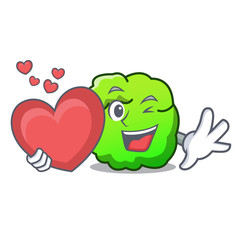 With heart shrub mascot cartoon style