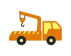 crane truck vehicle conveyance transport transportation logo image vector icon