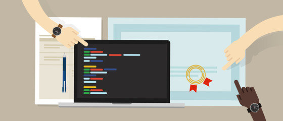 programming skill certificate certification with laptop and coding app script software programs. education skill
