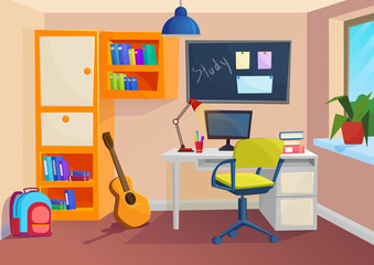 Student or pupil room. Workplace in room. Vector cartoon volumetric illustration.