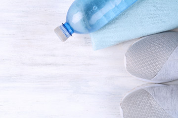 Shoes and water with set for sports activities