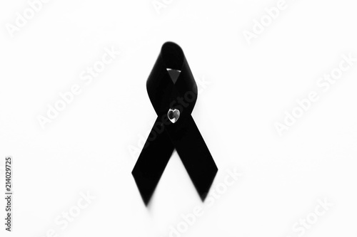 Black Ribbon Isolated Bow Symbol Top View Black Ribbon For