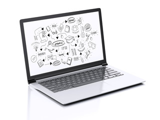 Modern Laptop with education sketch