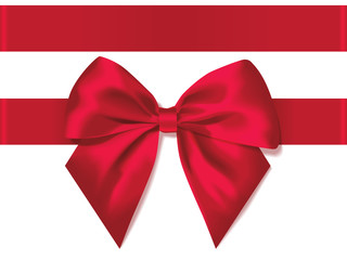 light red silk bow with ribbon decoration for gift