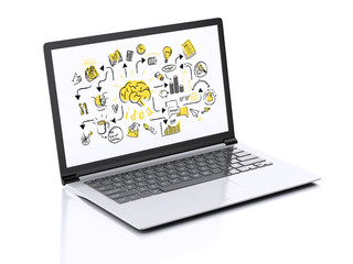 3d Laptop with businesss sketch