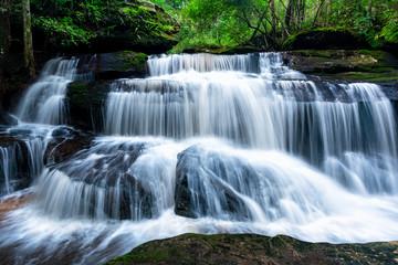 Deurstickers Watervallen Beautiful deep forest waterfall in Thailand.