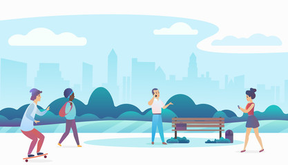 People walking and relaxing in a beautiful urban public park with modern city skyline on the background. Modern flat gradient vector illustration.