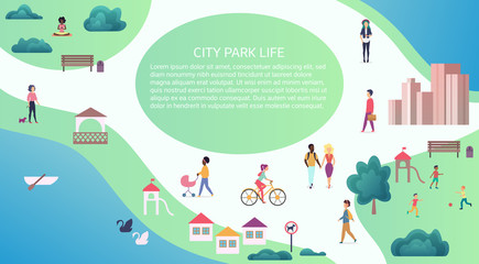 Vector Top map view concept of people at public city park walking and performing leisure outdoor activities.