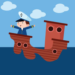 cute little sailor boys sailing the ocean cartoon character