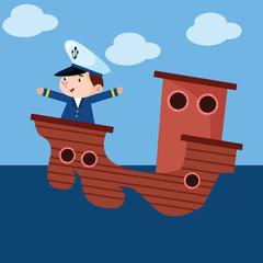 cute little sailor boys sailing the ocean cartoon character