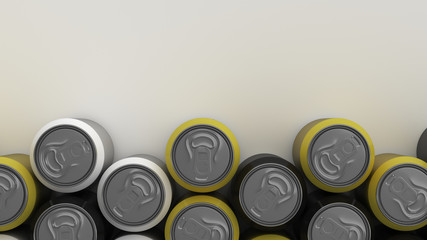 Big black, white and yellow soda cans on white background