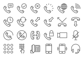 Basic phone and call icon set, outline