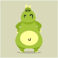 adorable friendly fat chubby green hippopotamus cartoon character