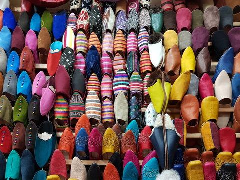 Babouches en cuir multicolores