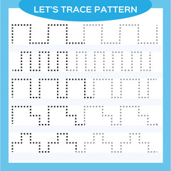 Tracing Lines Activity For Early Years. Special for preschool kids. Worksheet for practicing fine motor skills Tracing dashed lines. Improving skills tasks. Complete the pattern. Blue