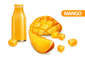 Mango fruit and sliced mango cubes. Realistic background with a bottle of juice and ripe mango fruit. Vector illustration.