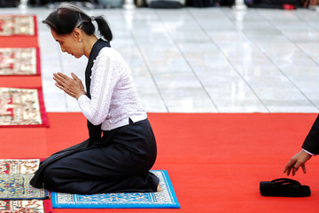 Myanmar State Counselor Aung San Suu Kyi attends an event marking the 71st anniversary of Martyrs' Day at the Martyrs' Mausoleum dedicated to the fallen independence heroes, including her father General Aung San, in Yangon