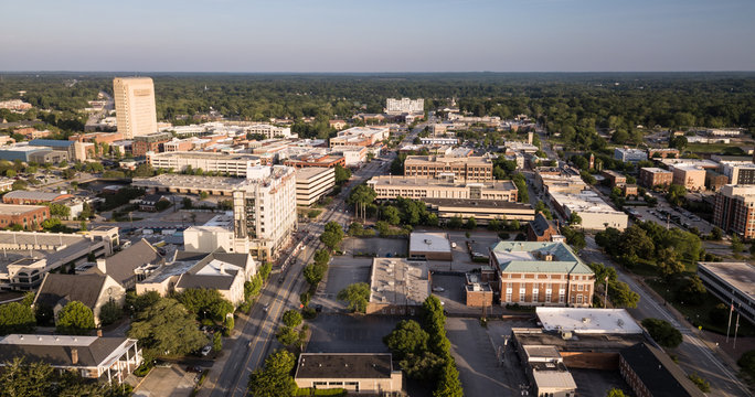 Dusk Comes to Main Street in Spartanburg South Carolina