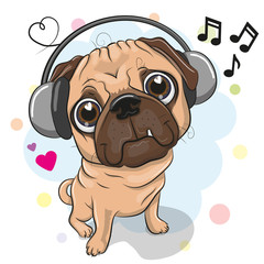 Cute cartoon Pug Dog with headphones