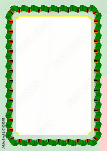 Flag Template | Frame And Border Of Ribbon With Zambia Flag Template Elements For