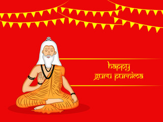 illustration of a saint with happy Guru Purnima text on the occasion of hindu festival Guru Purnima celebrated in India