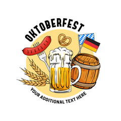 Oktoberfest hand drawn vector illustration. Munich beer festival concept with vintage old style design. Glass beer mug with barrel, sausage, grain, pretzel, germany flag element